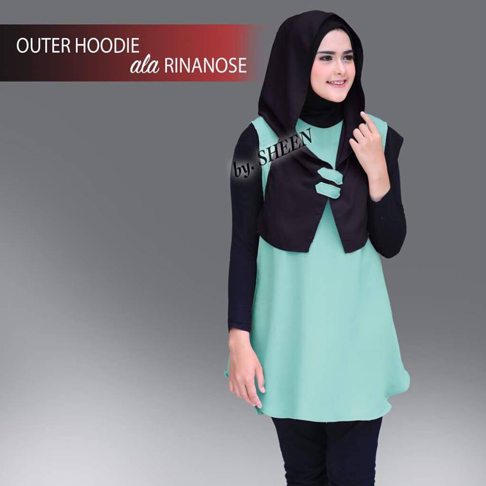 Outer Hoodie Mint Hitam