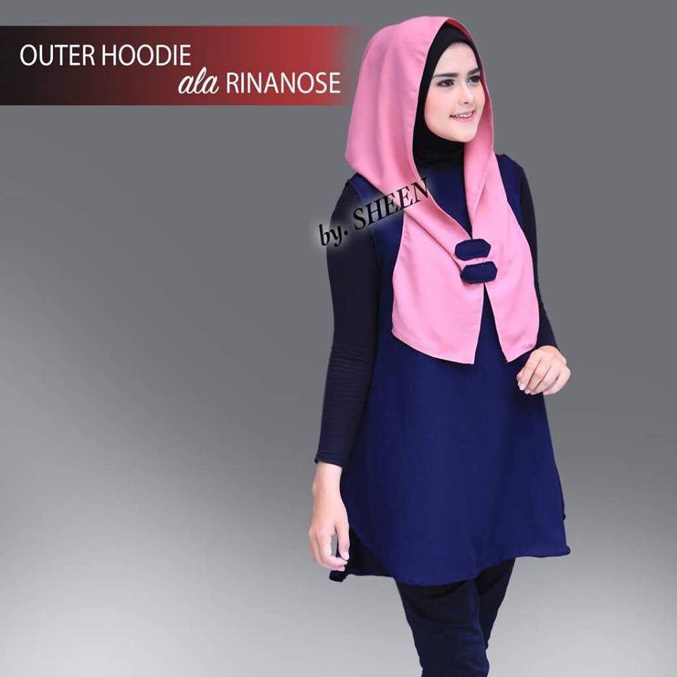 Outer Hoodie Navy Pink