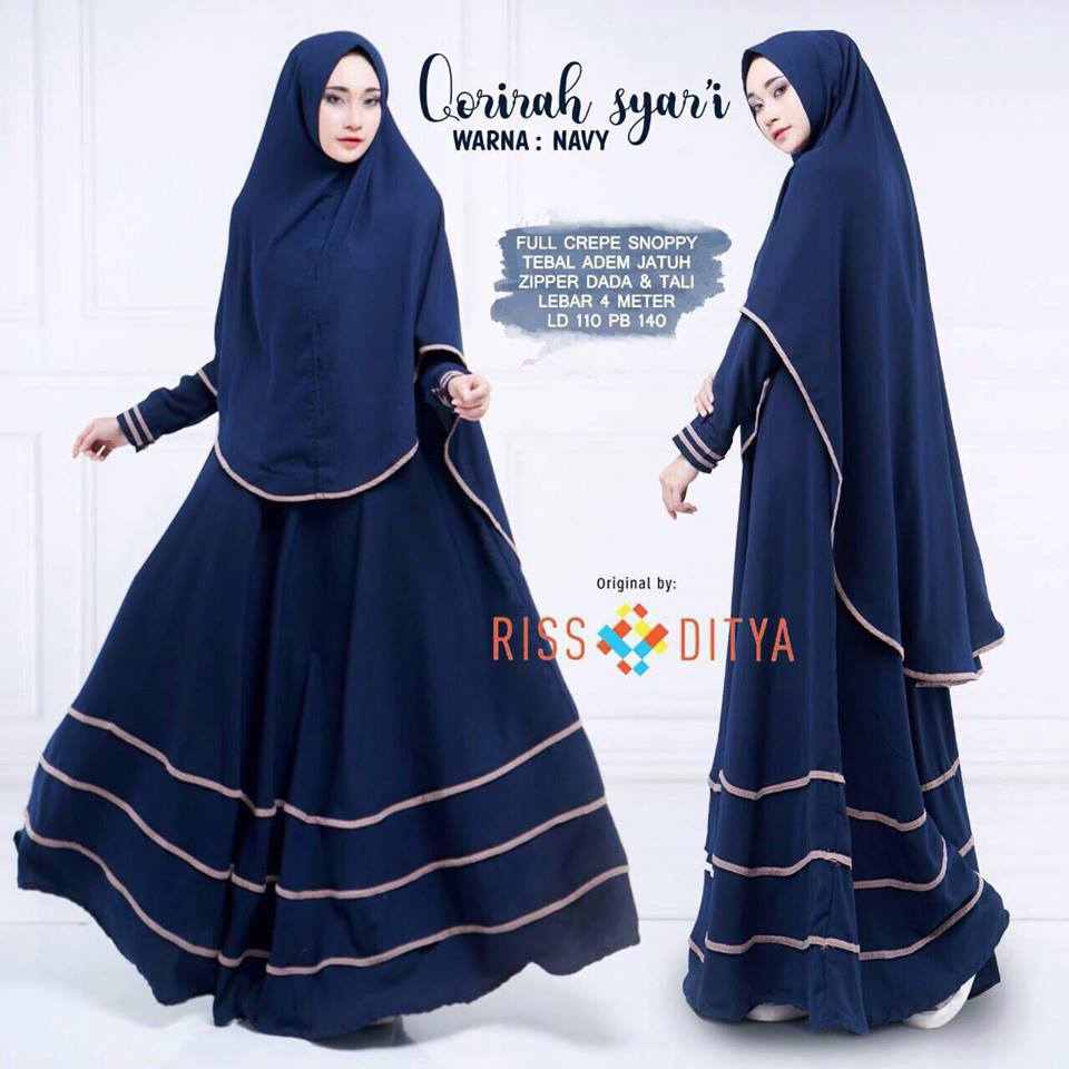 Qorirah syar'i dress - Navy