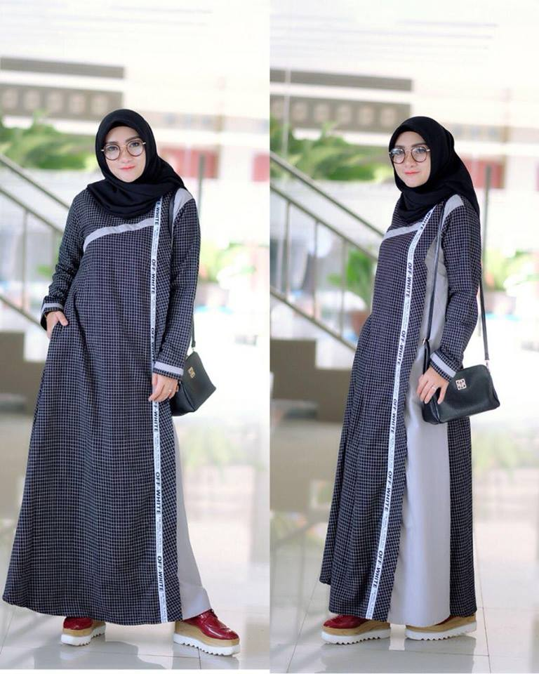 Anisa dress abu hitam