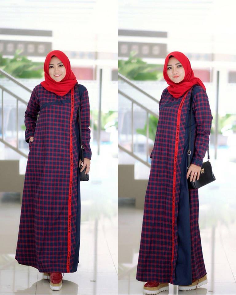 Anisa dress merah navy<a href=